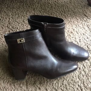 Antonio Melani Dark Brown Leather Booties Size 8.5